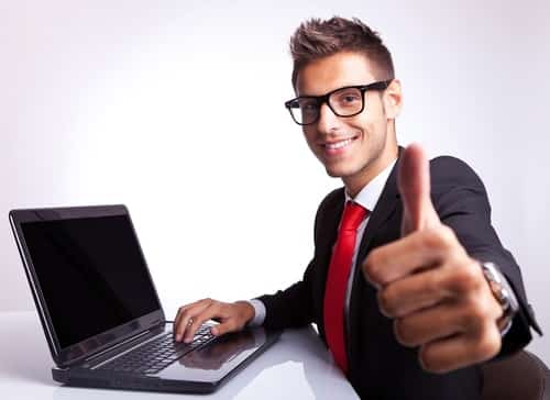 businessman with a thumbs up